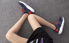 Nike Air Huarache宝蓝白橙 华莱士4代网面 模特上脚图
