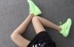 Nike Air Huarache荧光绿 华莱士4代网面 模特上脚图