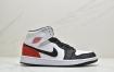 Air Jordan 1 Mid WMNS 新黑粉整双鞋采用黑色打造鞋身框架,白色填充鞋面