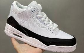 乔丹AJ3代 白黑色 藤原浩 闪电联名 Fragment Design x Air Jordan 3 整双鞋以经典百搭的黑白主题呈现