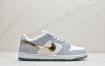 "Sean Cliver x Nike SB Dunk Low Pro""White/Psychic Blue-Metallic Gold""扣篮系列低休帮闲运动板滑板鞋""雾霾蓝金白钩水晶底"""