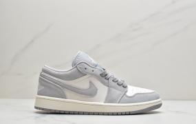 """耐克Nike Air Jordan AJ1 Retro Jow Premium""""Pale Ivory""""""""香芋粉紫白灰""""AJ1低帮时尚休闲运动板鞋"""