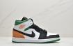 Air Jordan 1 Mid 黑白橙尾 AJ1全新黑绿橙尾配色球鞋这又全新的Air Jordan 1 Mid鞋款以简洁的白色框架