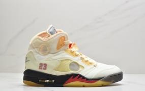 "OFF-WHITE x Air Jordan 5 Retro SP ""Sail"" 高帮 黑金属 流川枫 AJ5 高帮篮球鞋"