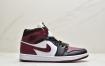 乔丹 Air Jordan 1 Mid 35周年限定配色 酒红脚趾 中帮系列篮球鞋