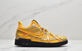 "Nike Air Rubber Dunk""University Gold"" OW金黄黑底  2.0橡胶扣篮系列皮革框架低帮休闲运动滑板板鞋"