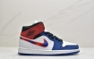 乔丹中帮 AJ1 红蓝色刺绣 Air Jordan 1 Mid 蓝幻勾彩色刺绣鞋头白蓝拼接篮球鞋