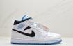 乔丹中帮Air Jordan 1 Mid 蓝幻勾彩色刺绣鞋头白蓝拼接篮球鞋