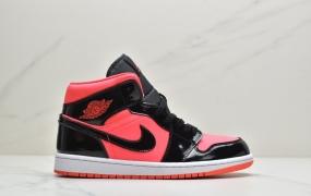 乔丹Air Jordan 1 Mid 中帮黑红漆皮 AJ1 乔1 中帮休闲运动板鞋 篮球鞋