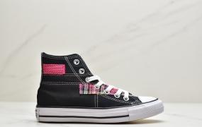 CONVERSE匡威 欧阳娜娜同款透气网面黑色 白色 贴布拼接帆布鞋