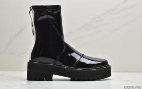 芬迪 FENDI 长筒靴子 马丁靴 黑色 高帮