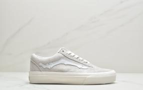 Blends Vans联名Old Skool ComfyCush黑白麂皮骨头图案帆布鞋低帮