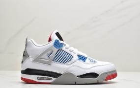 """乔丹AirJordan 4 """"Black Lase """" AJ4乔4 鸳鸯 白蓝红CI1184-146 男子文化篮球鞋"""