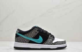 """耐克Nike SB Dunk Low PRO""""Elephant""""扣篮系列低帮休闲运动滑板板鞋""""黑白蒂芙尼灰大象爆裂纹"""""""