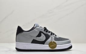 """耐克Nike Air Force 1'07 B""""3M Snake""""空军一号经典低帮百搭休闲运动板鞋""""皮革黑银反光蟒蛇纹钩子"""""""