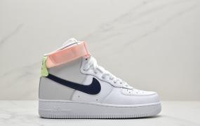 """耐克Nike Air Force 1 Mid """"梦巴黎高帮"""" 白 淡粉空军一号运动板鞋"""