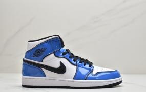 """乔丹Air Jordan 1 Mid """"Signal Blue"""" 二次元描边 白蓝小闪电 AJ1 乔1 中帮百搭休闲运动板鞋"""