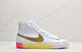 """耐克NK Blazer Mid '1977 Vintage WE""""Multi-Color"""" 全息镭射小OW""""开拓者高帮百搭休闲运动板鞋"""