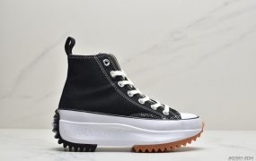 "匡威Converse chuck Run Star Hike Hi"" Black White Gum""1970超松糕锯齿底时装帆布休闲运动鞋"