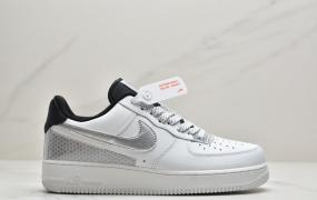 """耐克/Nike Air Force 1'07″White/Black/Silver 3M """"空军一号白黑银蜂巢格休闲运动板鞋"""