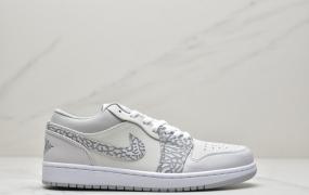 """乔丹 Air Jordan 1 Low PRM""""Elephant Print""""灰白大象中帮篮球鞋"""