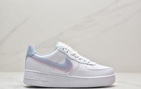 """耐克Nike Air Force 1'07 GS""""White LT Armory Blue""""空军一号皮革白淡蓝浅粉双钩子低帮运动板鞋"""