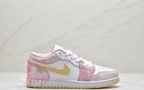 "乔丹 Air Jordan 1 Low GS""Paint Drip""粉冰淇淋 周雨彤同款低帮休闲鞋 篮球鞋"