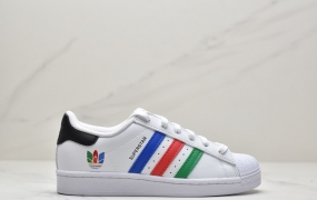 """阿迪达斯Adidas三叶草 Originals Superstar""""White/Red/Blue/Green""""多色重叠贝壳头经典百搭休闲运动板鞋"""