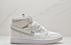 "乔丹Air Jordan 1 Zoom Air CMFT""Summit White"" 珍珠奶茶 米白中帮篮球鞋"