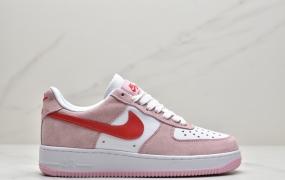 耐克Nike Air Force 1 '07 QS 粉红 情人节空军一号低帮运动板鞋