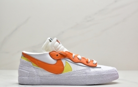 Sacai X nike Blazer Low 解构双勾走秀鞋 联名款开拓者低帮休闲板鞋 黄橙