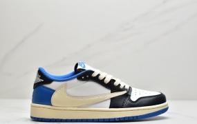 "Fragment x Travis Scott x Air Jordan 1 "" Military Blue "" AJ1乔1 TS 藤原浩 三方联名倒钩 低帮文化篮球鞋"