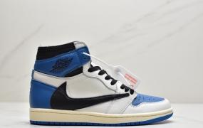 """Travis Scott x Fragment x Air Jordan 1 High OG SP """"Military Blue""""闪电倒钩高帮篮球鞋"""