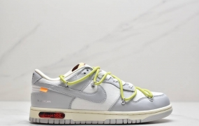 "耐克Nike 0ff-White x Nike Dunk Low""04 of 50"" OW 白灰色低帮运动板鞋"