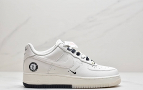 """Nike Air Force 1 Low '07 """"米黑白""""布鲁克林篮网城市限定低帮空军一号休闲板鞋"""