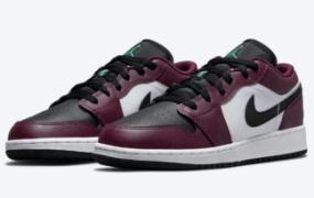 Air Jordan 1 Low SE GS 鞋面采用深甜菜根和罗马绿