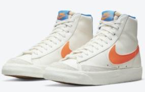 Nike Blazer Mid '77 以亮橙色和蓝色突出显示