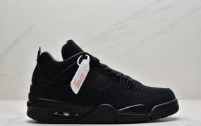 """乔丹 Air Jordan 4""""Black Cat"""" aj4中帮文化篮球鞋麂皮黑"""