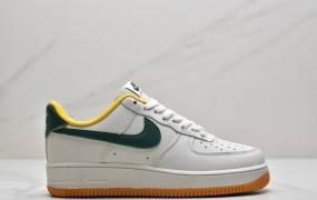 """耐克Nike By You Air Force 1'07 Low Retro SP空军一号低帮经典百搭休闲运动板鞋""""皮革米白暗绿黄生胶底"""""""