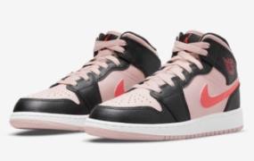 Air Jordan 1 Mid GS 以粉红色和深红色突出显示