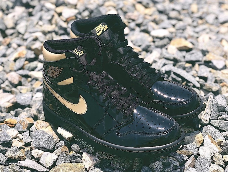 Air-Jordan-1-High-Patent-Black-Metallic-Gold-555088-032-Release-Date-Price