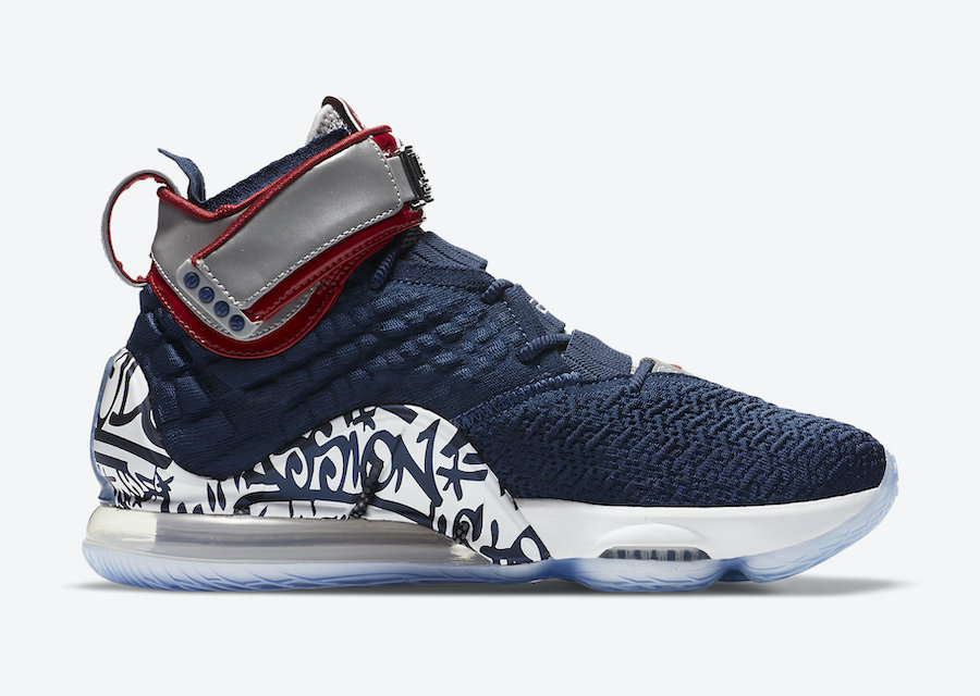 Swoosh, Nike LeBron 17, Graffiti Cold Blue, Air Max, 3M反光