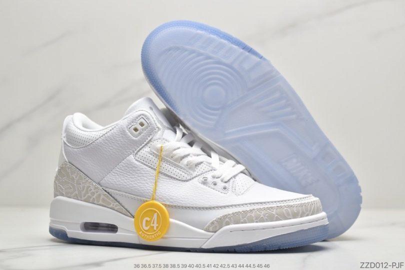 "Air jordan 3 ""白猫纯白爆裂纹""篮球鞋货号:136064-111"