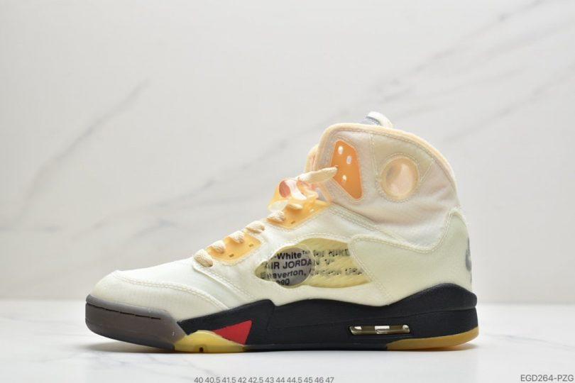 高帮, 篮球鞋, OFF-WHITE x, Jumpman, Jordan 5, Jordan, Black, Air Jordan 5 Retro, Air Jordan 5
