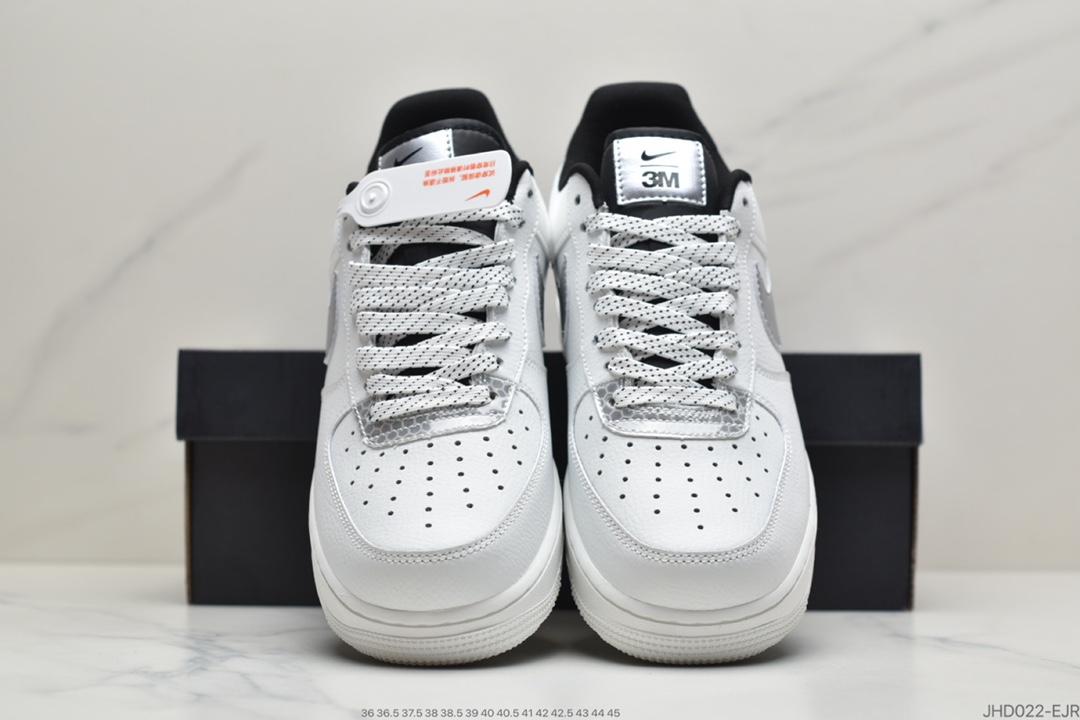 运动板鞋, 联名, 空军一号, 板鞋, White/Black/Silver 3M, Swoosh, Nike Air Force 1, Nike Air, Black, Air Force 1