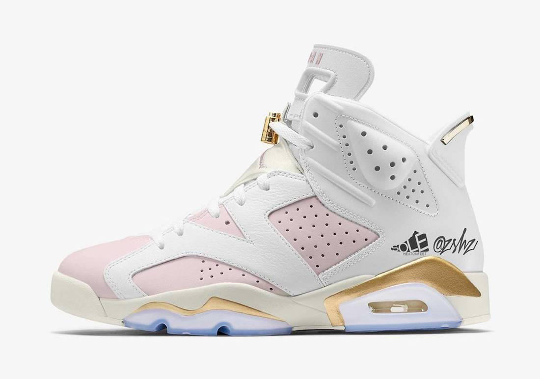 """Rose, Jumpman, Jordan Brand, Jordan, Barely Rose, Air Jordan 6 WMNS """"Gold Hoops"""", Air Jordan 6 Gold Hoops, Air Jordan 6, Air Jordan"""